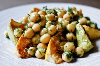 One of my very favorite squash recipes (roasted patty pan squash and herbed chickpeas)