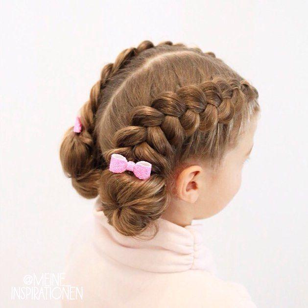Top 100 cute girl hairstyles photos It's finally weekend!❤️ Today there are two pancaked Dutch braids into two sweet little buns. I have attached two small pink hairbows from @bowsewsparkle   I wish you a nice Saturday! ~~~~~~~~~~~~~~~~~~~~~~~~~~~~~~~ Endlich Wochenende! ❤️ Heute gibt es zwei größer gezupfte holländische Zöpfe und zwei süße kleine Dutts. Ich habe noch...