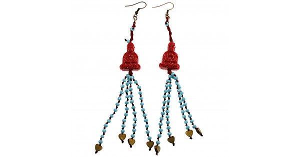 Boho little buddha earrings with crystal beads and hematite heartsLength 14,5 cm