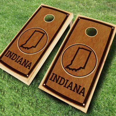 Ajj Cornhole State Stained Cornhole Set 4 Red/4 Royal Bean Bags - 109-STATE STAIN INDIANA RED/ROYAL, Durable