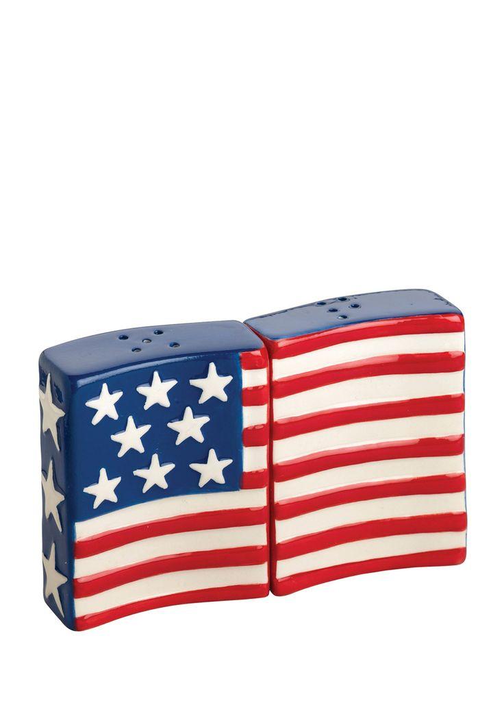 BOSTON WAREHOUSE Flags Flying Salt and Pepper Shaker Set