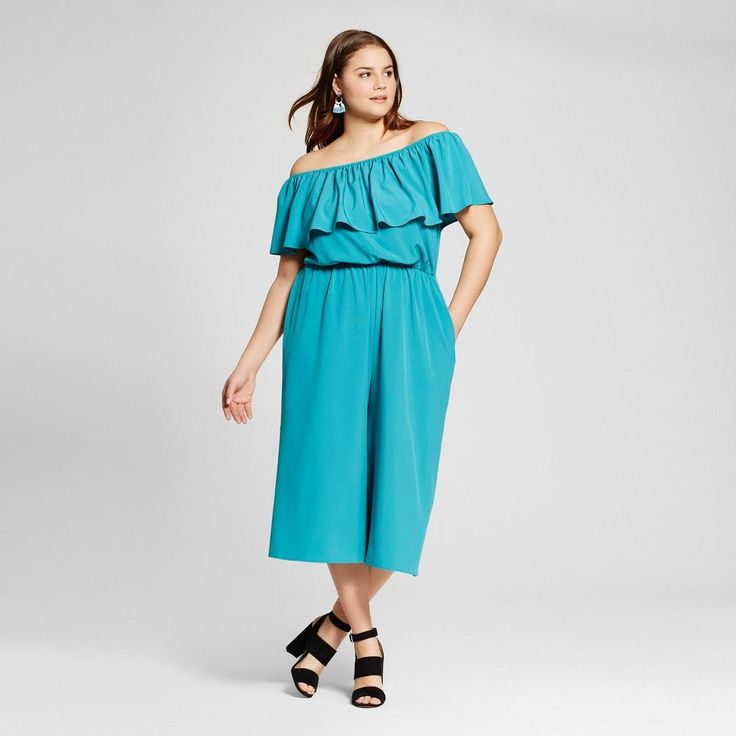 b36030efd79a Fashion Bug Women s Plus Size Ruffled Off the Shoulder Jumpsuit Green Le  Kate  FashionBug  PlusSize  Jumpsuits  Rompers 1X 2X 3X 4X www.fashionbug.