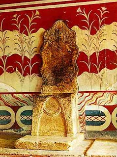 the throne of king minos at knossos palace, crete, greece. it was build 2600b.c., so its  4.600 years of history.