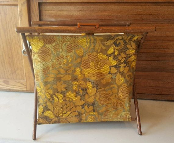 Sewing Knitting Crocheting Basket, 1940's, Magazine Rack, Recycle Bin, Green and Gold, Basket, Farmhouse, Collapsible, Wood Frame, Tapestry