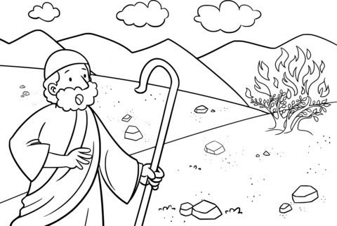 Moses Listen To God Through Burning Bush Coloring Pages With