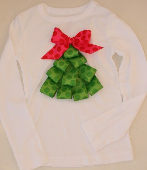 Christmas tree shirt using ribbon.. so cute and easy. already had a white shirt, spent 1.20 on ribbon at Walmart and voile!