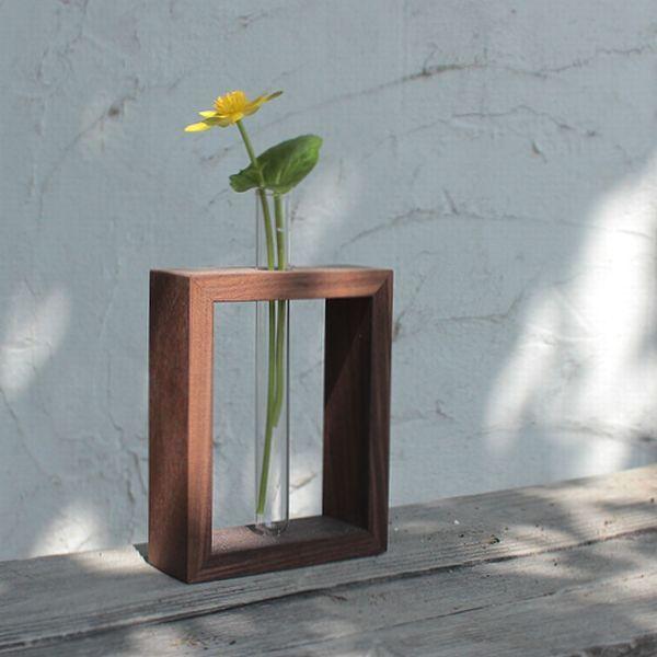 フラワーベース試験管花瓶木製モダン北欧デコレーション【一輪挿し・シングル】
