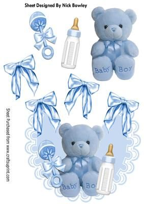 Little blue teddy with bottle and rattle on frilly bib on Craftsuprint - Add To Basket!