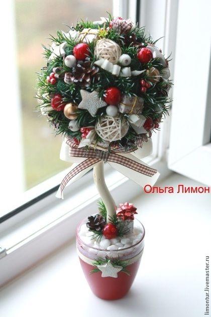 """Купить Топиарий """"Праздник приближается"""" - тёмно-зелёный, зеленый, новогодний, Новый Год, подарок на новый год"""