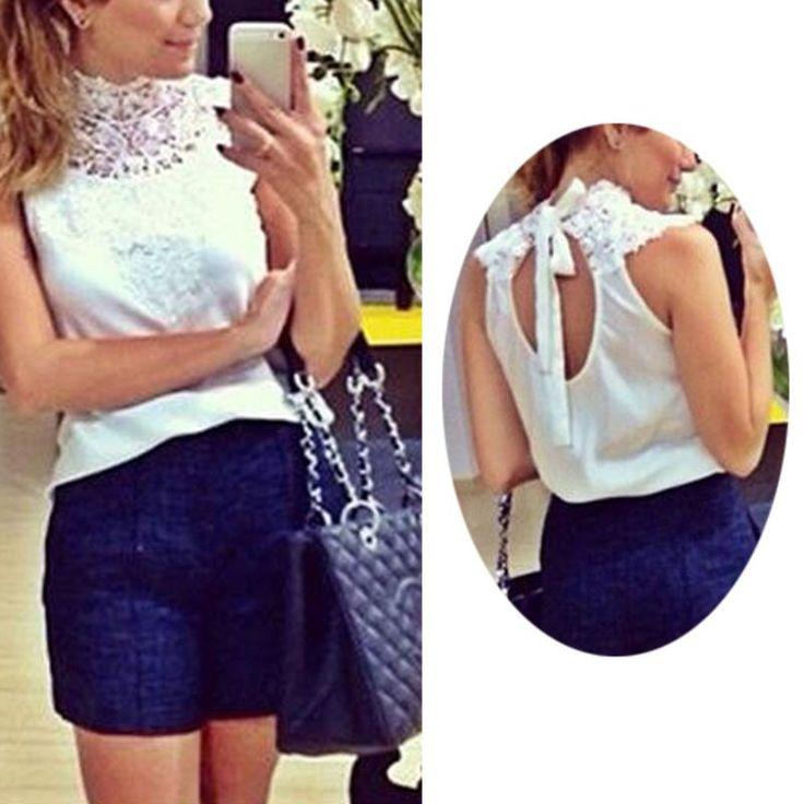 Dreamgirl Fashion women White lace blouse sleeveless backless blusas femininas camisas branca feminino feminine shirts festa