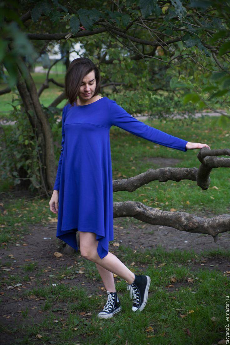 Купить Трикотажное платье с ассиметричным подолом - синий, однотонный, трикотажное платье, джерси, бебидолл