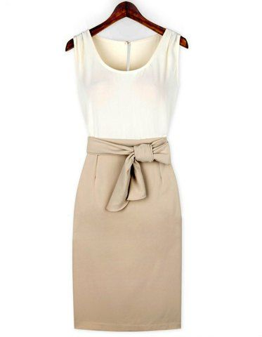 Elegant Scoop Neck Color Block Bow Embellished Hollow Out Sleeveless Dress For Women Casual Dresses | RoseGal.com Mobile