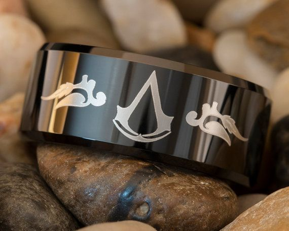 Tungsten Ring 10mm Black Beveled Assassin's Creed Design. Getting this
