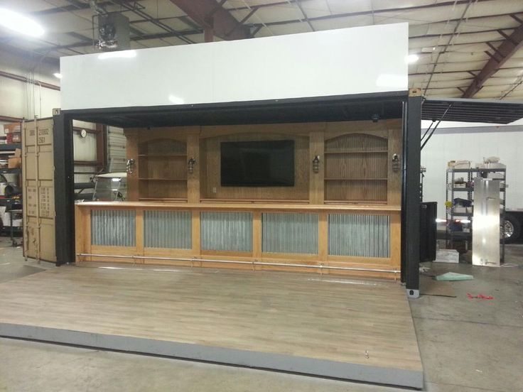 Custom mobile bar in a shipping container by Aardvark Event Logistics.  Available for rent by the event or long term tour.
