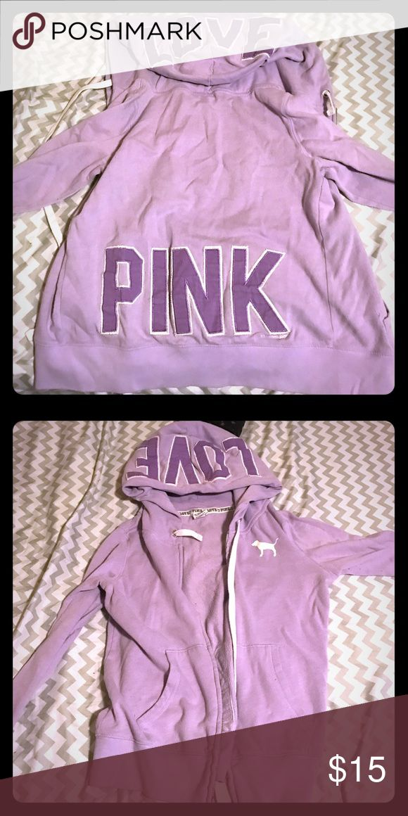 Victoria's Secret PINK purple zip up hoodie purple PINK zip up hoodie PINK Victoria's Secret Tops Sweatshirts & Hoodies