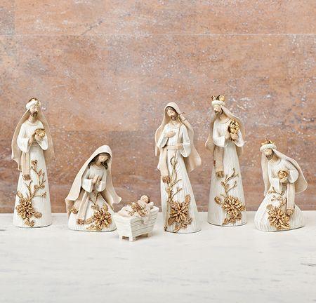 Gold & White Nativity Set 6 Pieces