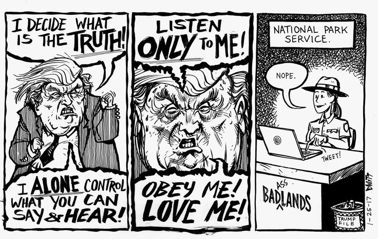 Political Comic about the Trump Administration's Gag Order and the National Park Service response.