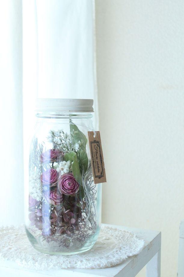 ドライローズのドライフラワーボトル*紫バラ*アジサイ | ホーム ...