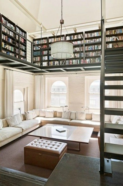 Wonderful.  That Couch.  Those Books.: Bookshelves, Spaces, Ideas, Dreams Libraries, Home Libraries, Dreams House, Living Room, Loft, High Ceilings