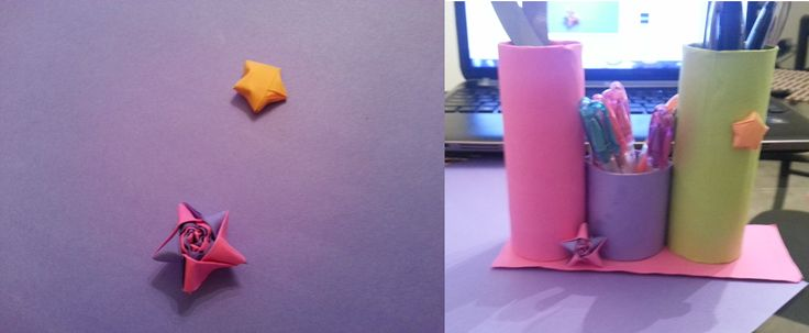 pencil holder and paper stars