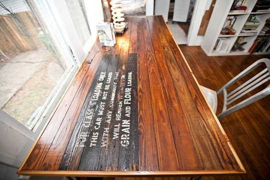 grain & flour.: Boxcar Tables, Repurposed Wood, Tables Desks, Offices Design, Heart Pine, Kitchens Tables, Wood Tables, Decor Diy, Dining Tables