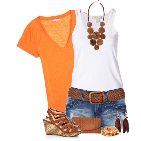 """Orange and White for Summer"" by nordicgal76 on Polyvore"