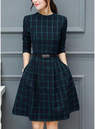 Plaid Long Sleeves A-line Knee Length Vintage/Casual Dresses