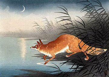 foxReed, Woodblock Prints, Foxy Loxi, Crosses Stitches, Ohara Shoson, Japan Artists, Ohara Koson, Foxes, Animal