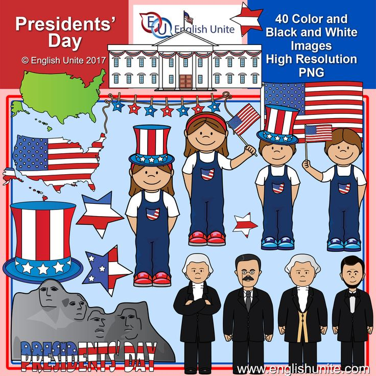 This set contains all of the images shown - 40 images (20 in color and the same 20 in line art). The images are saved at 300dpi in PNG files.  Images included: Abraham Lincoln, American flag, 2 American maps (one saved in green and one saved in the flag colors), top hat, boy with flag, boy with hat, George Washington, girl with flag, girl with hat, Mt Rushmore, Presidents' day sign, 4 stars, stars on a string, Theodore Roosevelt, Thomas Jefferson and the White house.  Please download a p...
