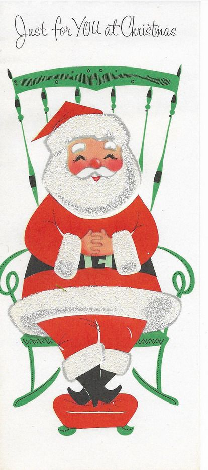Vintage Christmas card Santa Claus with Heavy Glitter beard and trim