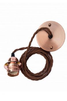 Copper E27 Flex and Fitting Set with Shade Ring