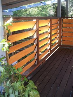 Love this idea for our (not yet built) back deck! Wooden-look aluminium louvres - let the breeze through on a hot day or close up for privacy / less wind. Even better - it's a super local company! :) $45 each set.