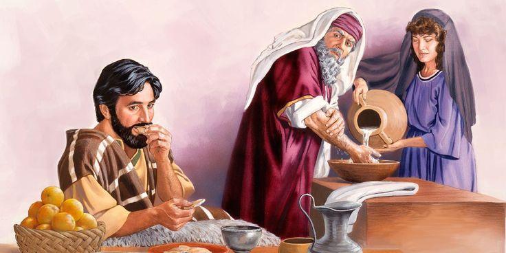 Un fariseo compie il lavaggio rituale delle mani e guarda con disapprovazione un uomo che si è già messo a mangiare
