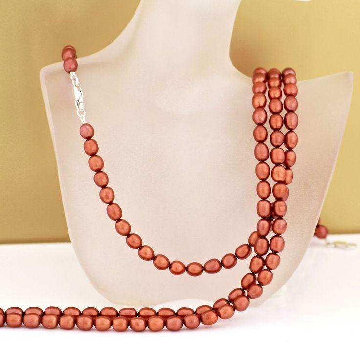 Echte Perlenkette in orange-terra
