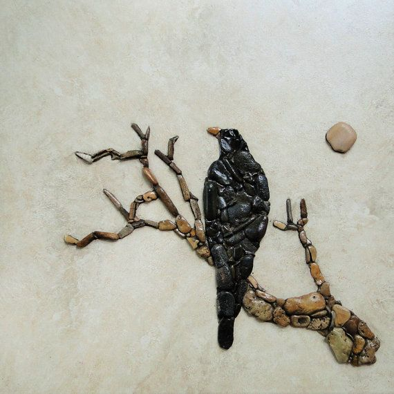 Crow sitting on dead tree от PEBBLEMOSAICS на Etsy