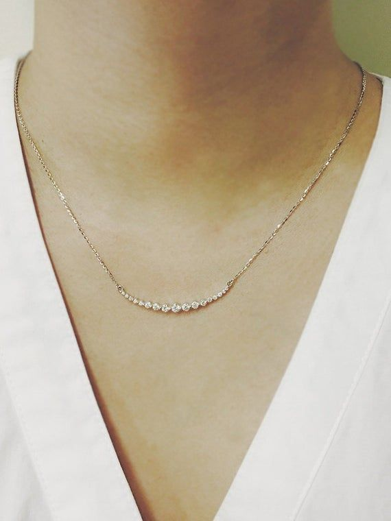 Diamond Necklace, Curved Bar Diamond Necklace, Wedding Necklace, Bridal Necklace, Wedding Jewelry, Minimalist Necklace, Anniversary Gift