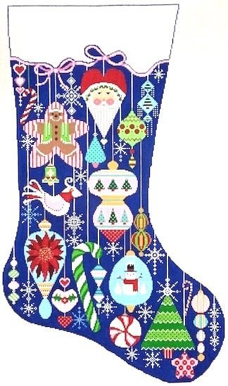 Happy Holiday Ornaments (CS50) is a Christmas needlepoint stocking canvas designed by Shelly Tribbey Designs available at the Needle Nook of La Jolla.