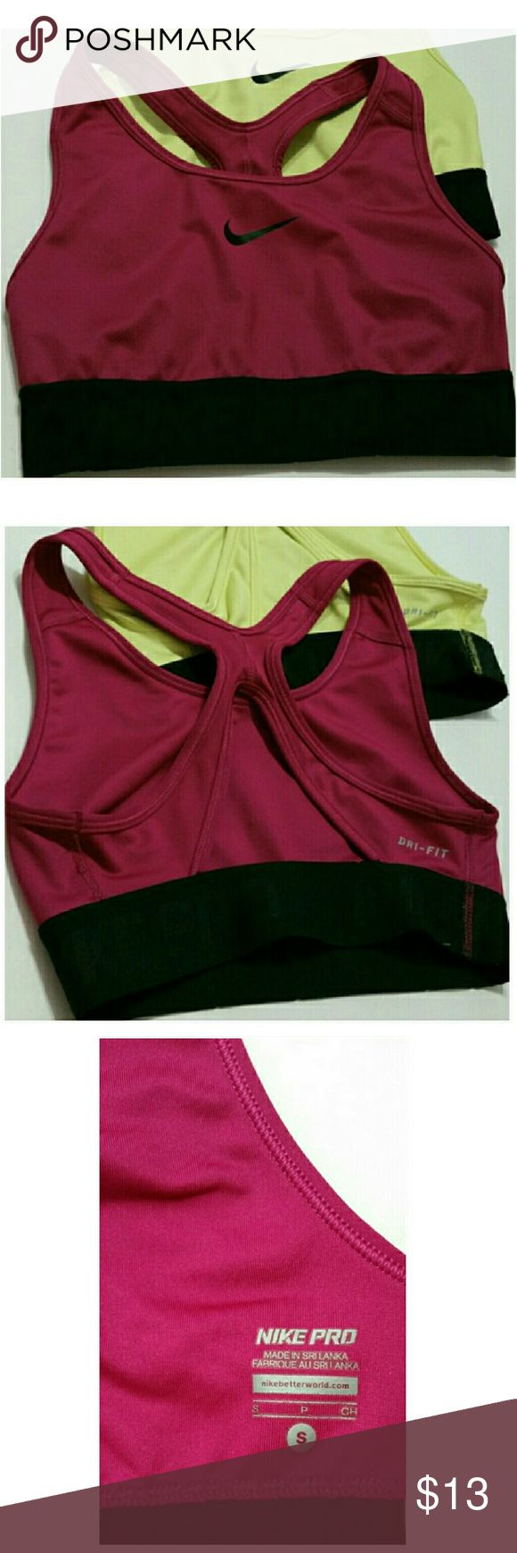 Nike Pro Sports Bra. Great condition.  Little fray as shown in the last picture.  *Bundle and Save! Nike Tops