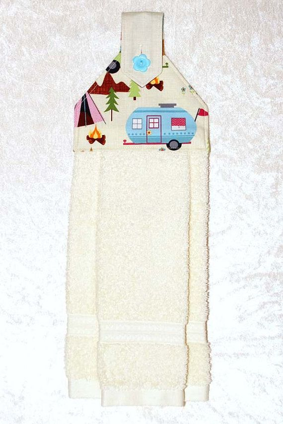 Hanging Kitchen Towel • Hand Towel • Cream Tea Towel • Ivory Dish Towel • RV Camper Trailer • Glamping • RV Camping Decor • Gift
