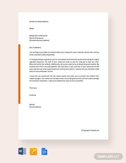 004 Free Sample Complaint Letter for Poor Customer Service