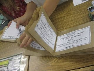 Paper Bag Books: Cut off the bottom of the bags. Stack them up and staple them in the center. Use the pockets to tuck goodies. The possibilities are endless!