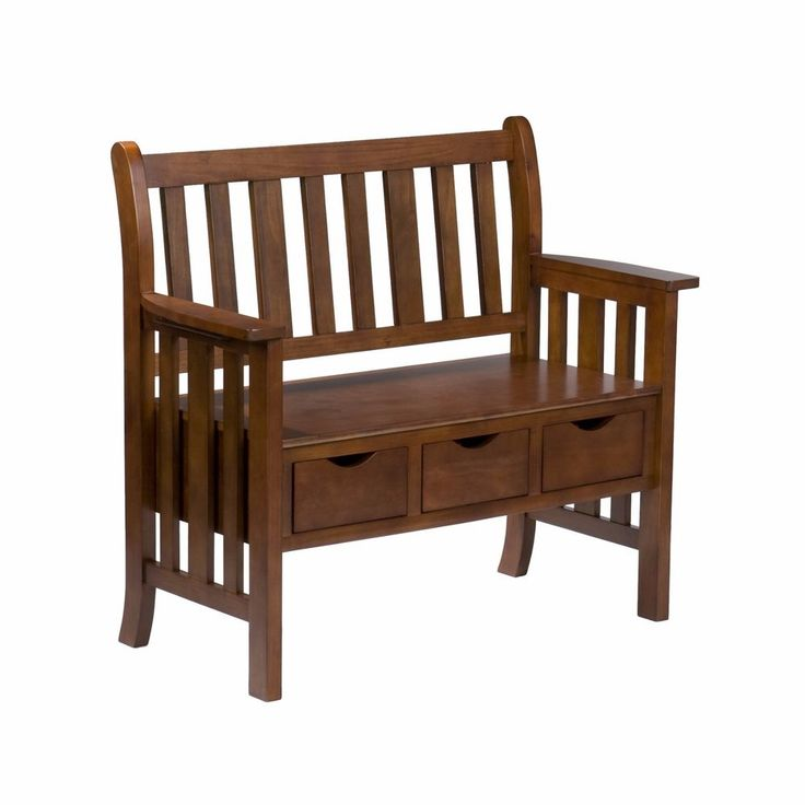 Storage Wood Entryway Bench Oak Finish Brown Modern Storage Bench 3 Drawers New #WildonHome #Contemporary