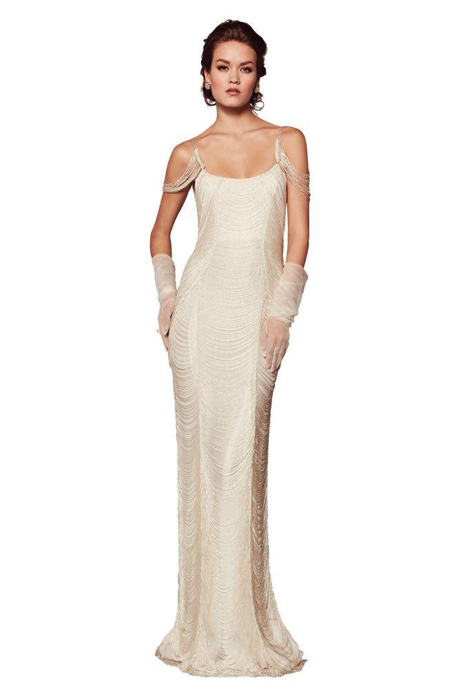 20 Gatsby-Worthy Wedding Dresses..Rafael Cennamo Beaded fringe gown .