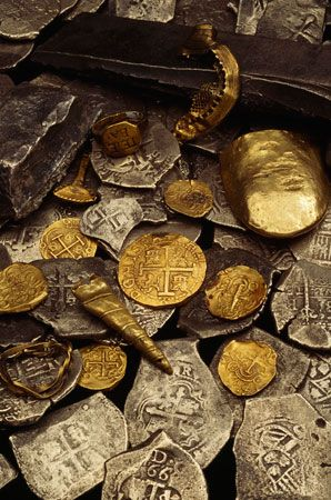 """Pirate Treasures - From the ship the Whydah/the first verifiable pirate ship discovered in the United States/Pirate Sam Bellamy and his crew captured the Whydah in 1717."""