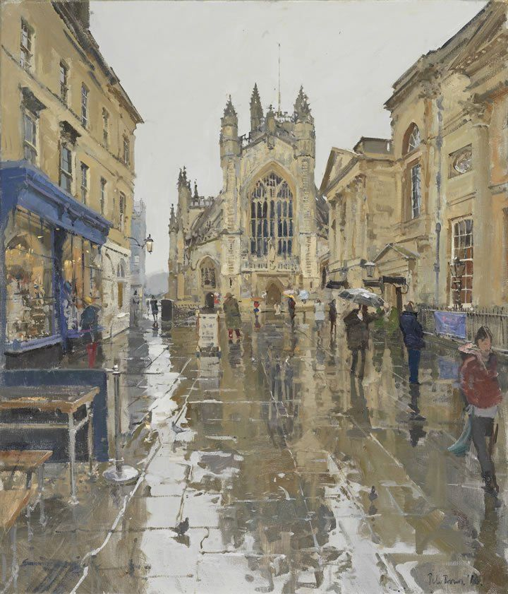 Peter Brown - Pigeons in the Rain, Abbey Courtyard