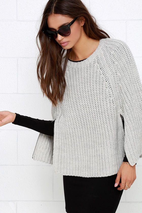 Take the Olive & Oak Cloak and Swagger Light Grey Sweater Cape out for a night of adventure and intrigue