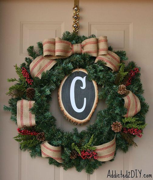 Corona de monograma bricolaje, adornos navideños, artesanías, decoración de temporada de vacaciones, coronas