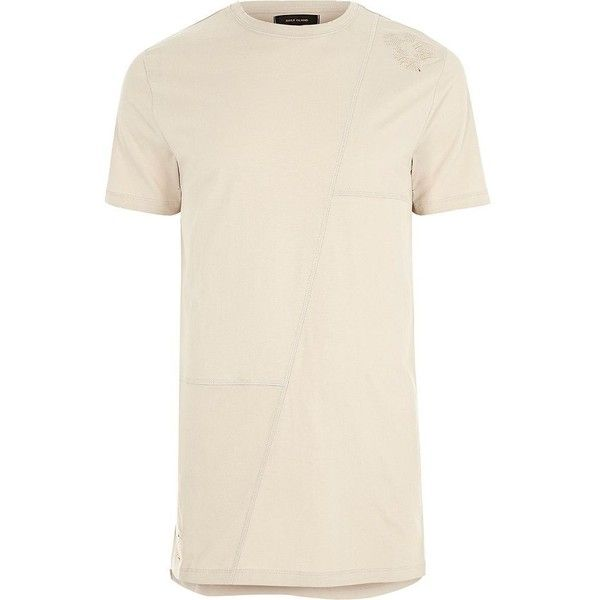 River Island Beige patchwork longline T-shirt ($9.68) ❤ liked on Polyvore featuring men's fashion, men's clothing, men's shirts, men's t-shirts, dad, sale, stone, mens patchwork shirt, river island mens shirts and mens crew neck t shirts