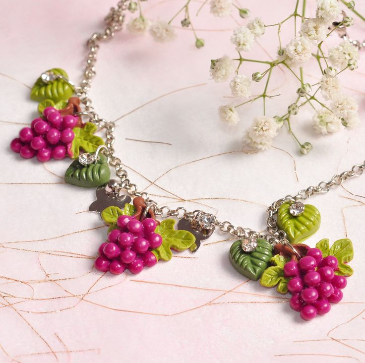 Grapes polymer clay pendant necklace with silver chain.