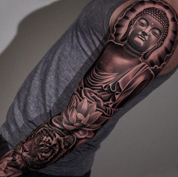 Blackwork Buddha Sleeve Tattoo by Jun Cha